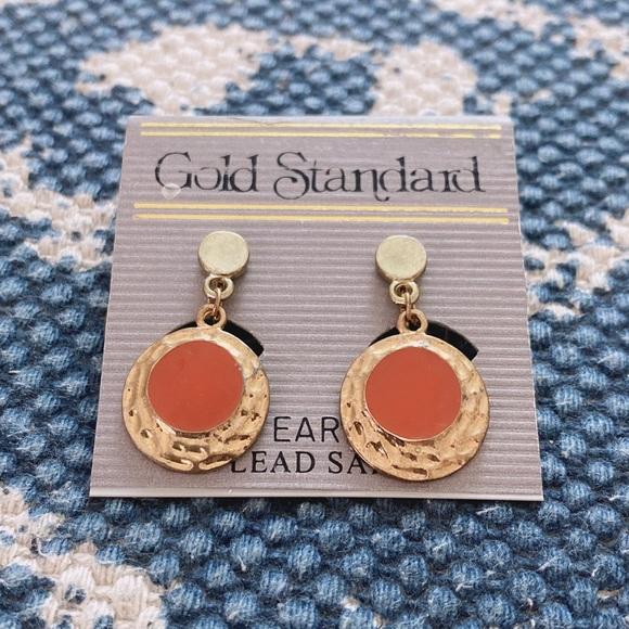 Round Orange Clip Earrings
